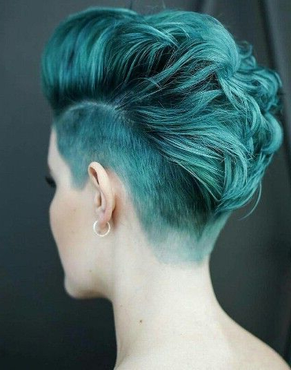 Blue Short Hair With Undercut … | Hair Goals | Pinte… For Textured Blue Mohawk Hairstyles (View 20 of 25)