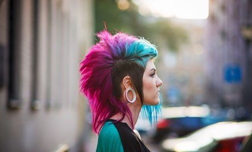Brown/blue/green/purple/pink Mohawk | Femalia | Pinterest | Hair Intended For Hot Pink Fire Mohawk Hairstyles (View 11 of 25)