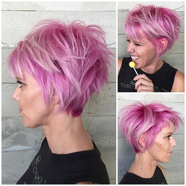 Bubblegum Pink Hair Color And Messy Short Hairstyle Short Haircut For Spiky Mohawk Hairstyles With Pink Peekaboo Streaks (View 5 of 25)
