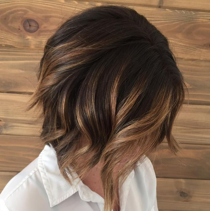 Caramel Brunette Balayage Bob With Dark Smudge Rootaveda Artist Throughout Best And Newest Point Cut Bob Hairstyles With Caramel Balayage (View 13 of 25)