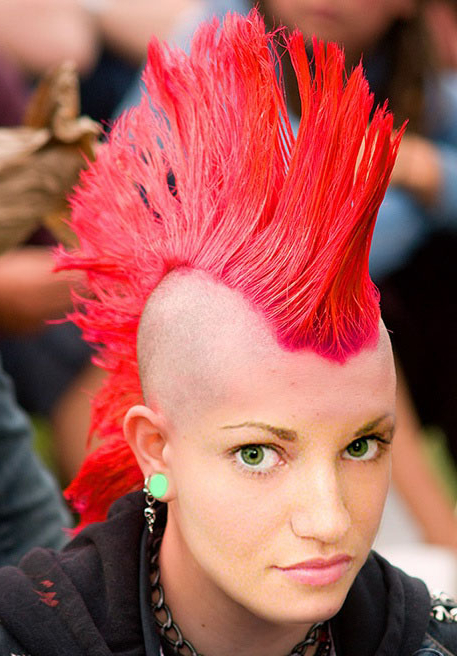 Daily Hair Spotting – Amazing Bright Red Mohawk – Strayhair For Rainbow Bright Mohawk Hairstyles (Gallery 5 of 25)
