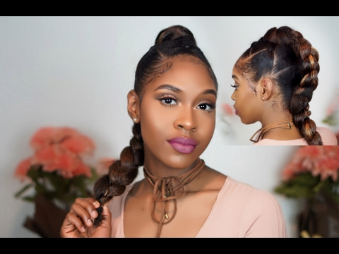 Easy Braided Hawk Updo (Elastic Braid Method) | Natural Hair Throughout Athenian Goddess Faux Hawk Updo Hairstyles (View 19 of 25)