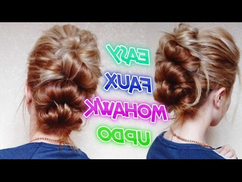 Easy Looped Faux Mohawk Updo Hairstyle  Awesome Hairstyles – Youtube Inside Cool Mohawk Updo Hairstyles (View 13 of 25)
