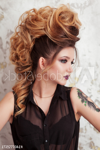 Fashion Shiny Makeup. Beauty Woman With Mohawk Hairstyle (View 17 of 25)