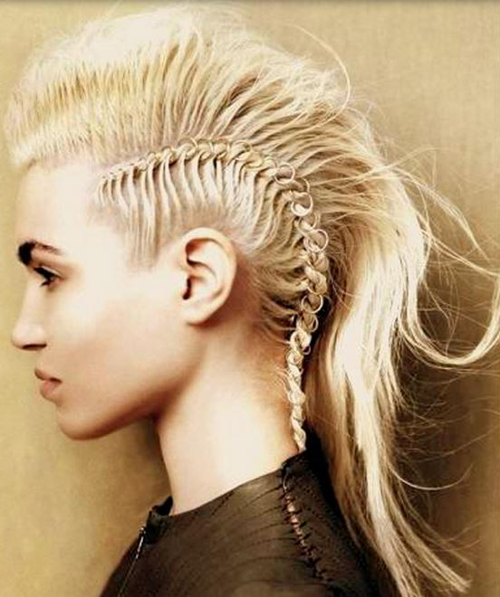 Girl Mohawk Hairstyle With Long Blonde Hair Length With Regard To Blonde Mohawk Hairstyles (Gallery 4 of 25)