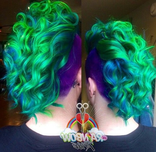 Green Mohawk Shaved Sided Dyed Hair Color @rainbowrage | Colorful throughout Rainbow Bright Mohawk Hairstyles