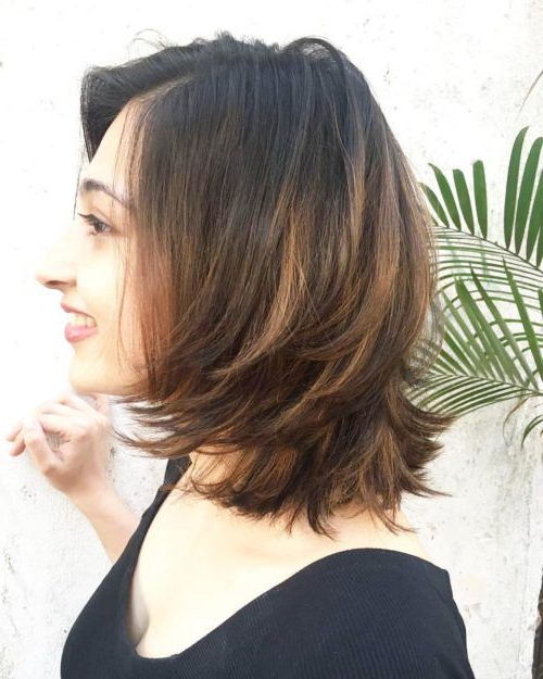 Indian Feather Cut Bob Hairstyle | Short Indian Hairstyles Inside Latest Feathered Brunette Lob Haircuts (View 22 of 25)