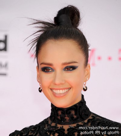 Jessica Alba's Versatile Top Knot Updo Hairstyle With Fanning Out Ends Inside Versatile Mohawk Hairstyles (View 20 of 25)