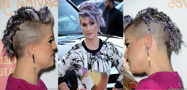 Kelly Osbourne's Purple Braided Mohawk With Safety Pins | Fashioncadet For Lavender Braided Mohawk Hairstyles (View 11 of 25)