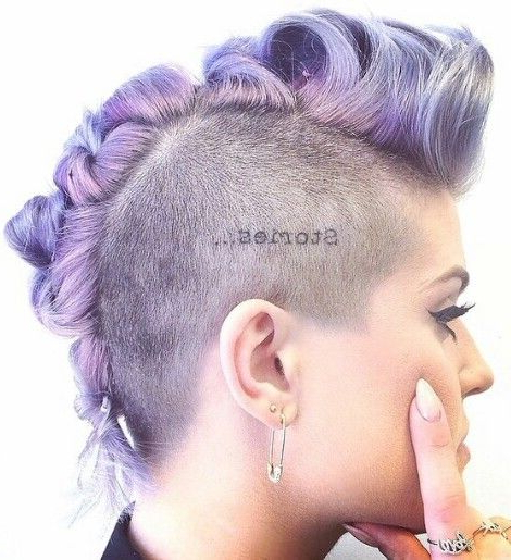 Lavender Purple Mohawk Dyed Hair With Shaved Sides | Hair In Lavender Braided Mohawk Hairstyles (View 3 of 25)