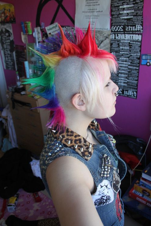 Like The Cut, Not The Colors Lol | Hairstyles (: | Pinterest | Hair With Regard To Spiky Mohawk Hairstyles With Pink Peekaboo Streaks (View 23 of 25)