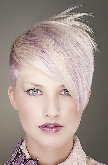 Long Bangs, Platinum Blond Short Hair, Spiky, Violet Highlights On Inside Spiky Mohawk Hairstyles With Pink Peekaboo Streaks (View 8 of 25)