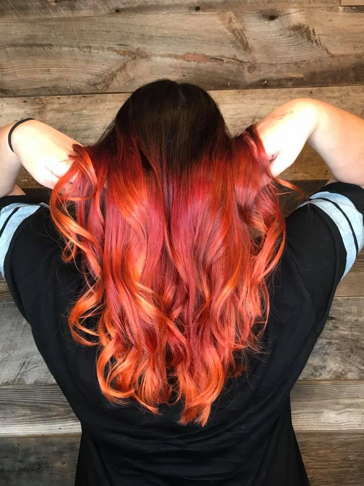 Long Layered Womens Hair Cut Fire Red Copper Orange Vibrant Pravana Regarding Most Up To Date Medium Haircuts With Fiery Ombre Layers (View 21 of 25)