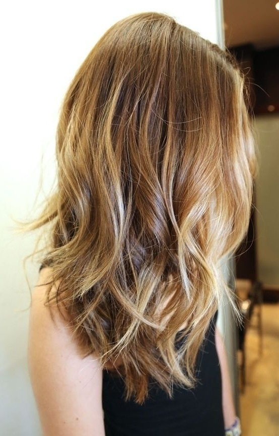 Love This Hair Color/highlights: Warm Caramel, Light Brown With In Latest Caramel Lob Hairstyles With Delicate Layers (View 22 of 25)