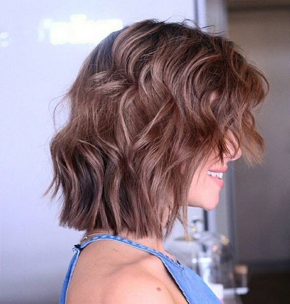 Medium Choppy Bob Haircut With Waves Brunette | Styles Weekly Pertaining To Most Recent Choppy Waves Hairstyles (View 7 of 25)