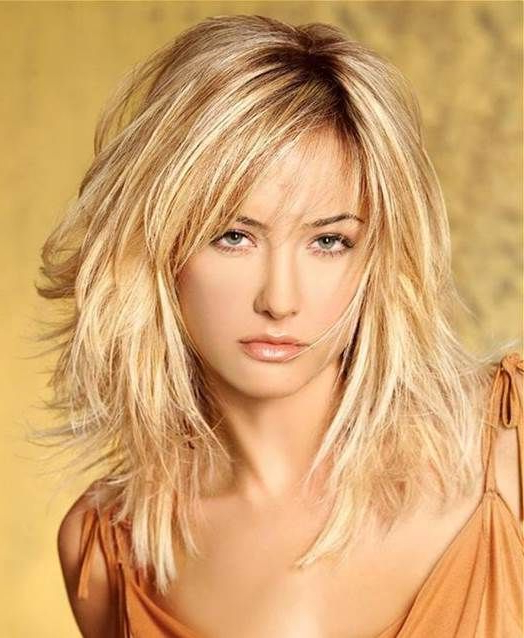 Medium Hairstyles With Bangs For Women Over 40 With Fine Hair – Bing Throughout Most Current Longer Hairstyles With Feathered Bottom (View 20 of 25)