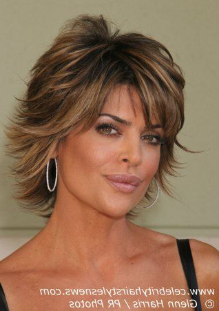 Medium Length Layered Haircuts | Lisa Rinna With A Short Layered Inside Latest Long Bob Hairstyles With Flipped Layered Ends (View 6 of 25)