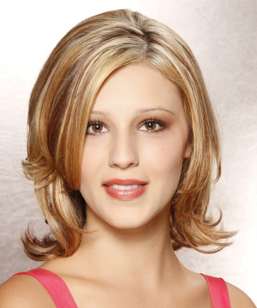 Medium Straight Formal Hairstyle – Dark Golden Blonde Hair Color Intended For Most Recent Shoulder Length Haircuts With Flicked Ends (View 6 of 25)
