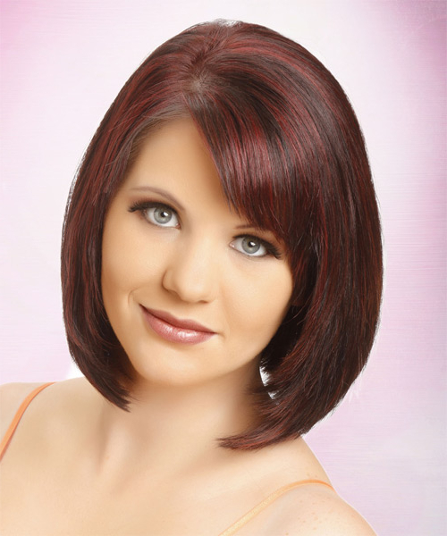 Medium Straight Formal Layered Bob Hairstyle With Side Swept Bangs Within Newest Burgundy Bob Hairstyles With Long Layers (View 14 of 25)