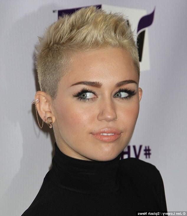 Miley Cyrus Wears Conservative Lbd At Vh1 Divasbefore Rocking Out Throughout Billy Idol'S Hot Cousin Faux Hawk Hairstyles (View 20 of 25)