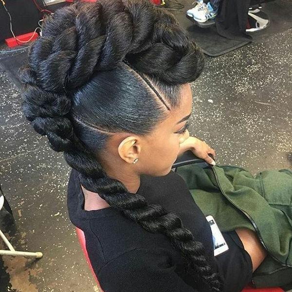 Mohawk Braid Hairstyles, Black Braided Mohawk Hairstyles In Vibrant Red Mohawk Updo Hairstyles (View 21 of 25)