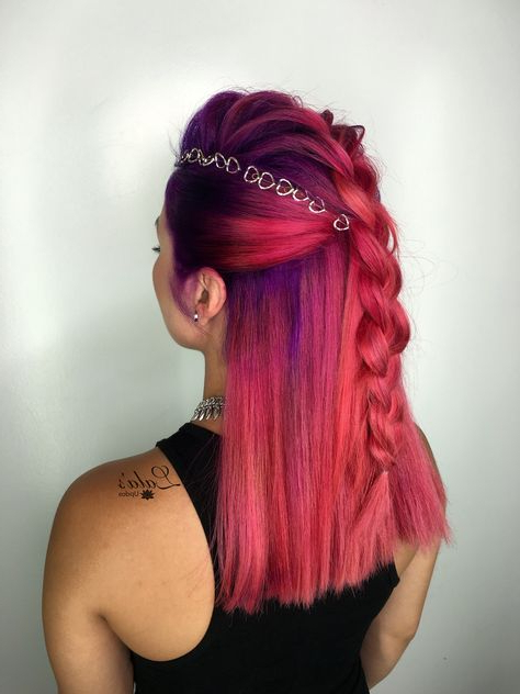 Mohawk/ Mohawks/ Vivid Colors/ Pink/ Lalasupdos/ Wedding Hair/ Updos In Vibrant Red Mohawk Updo Hairstyles (View 8 of 25)