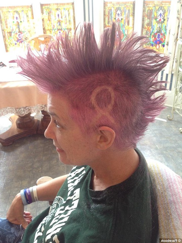 Mother With Breast Cancer Shaves Her Hair Into A Bright Pink Mohawk With Regard To Hot Pink Fire Mohawk Hairstyles (View 24 of 25)