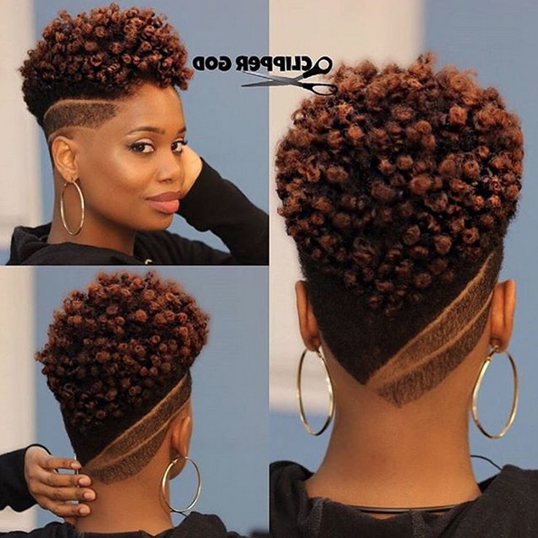 Natural Curly Fade Mohawk Hairstyle For Women | Haircuts For Black regarding Curl–Accentuating Mohawk Hairstyles