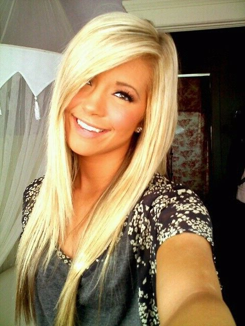 Perfect Blonde Hair, Side Swept Bangs | Goals | Hair, Hair Styles With Regard To Most Up To Date Platinum Layered Side Part Hairstyles (View 21 of 25)