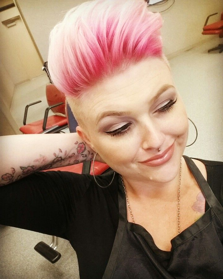 Pink Shadow Root, Shaved Sides, Pixie Cut ? | Hair Affaire | Hair With Spiky Mohawk Hairstyles With Pink Peekaboo Streaks (View 24 of 25)