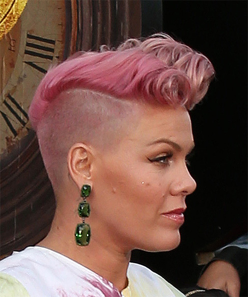 Pink Short Curly Alternative Mohawk Hairstyle – Pink Hair Color For Side Mohawk Hairstyles (View 16 of 25)