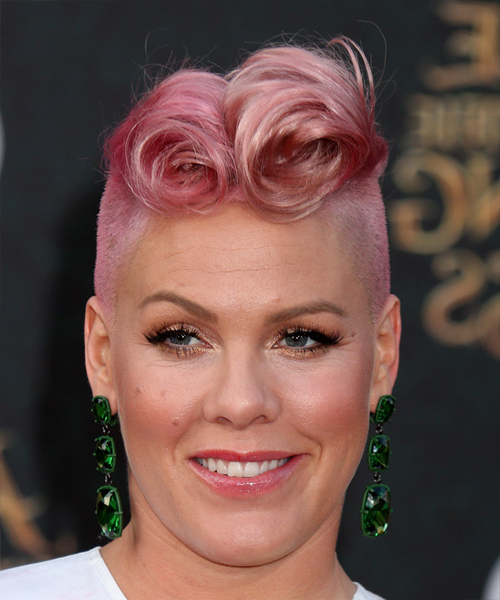 Pink Short Curly Alternative Mohawk Hairstyle – Pink Hair Color Regarding Short Curly Mohawk Hairstyles (View 17 of 25)