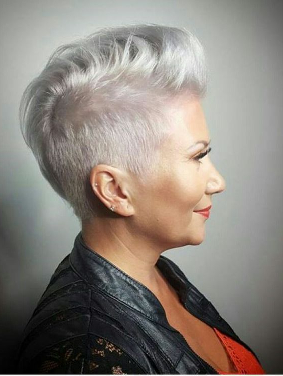Pinmiss Vanita Gunn On New Hair | Pinterest | Short Hair And With Silvery White Mohawk Hairstyles (View 2 of 25)