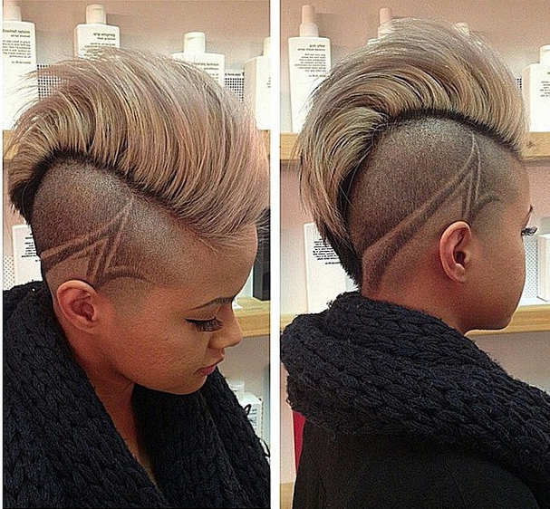 Pinshanda Holmes On Natural Hair | Pinterest | Short Hair Styles Regarding Platinum Mohawk Hairstyles With Geometric Designs (View 4 of 25)