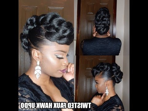 Protective Style* Twisted Faux Hawk Updo - Youtube | Ebony Hair regarding Athenian Goddess Faux Hawk Updo Hairstyles