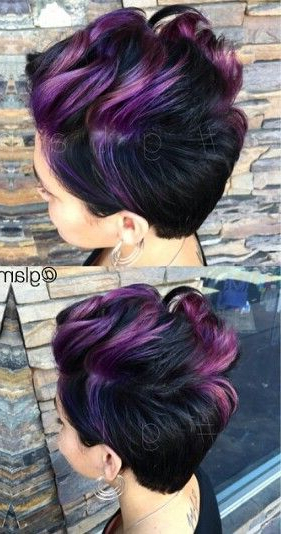 Purple Dyed Pixie Hair Cut (That Is So Not A Pixie Cut At All, But I With Spiky Mohawk Hairstyles With Pink Peekaboo Streaks (View 16 of 25)