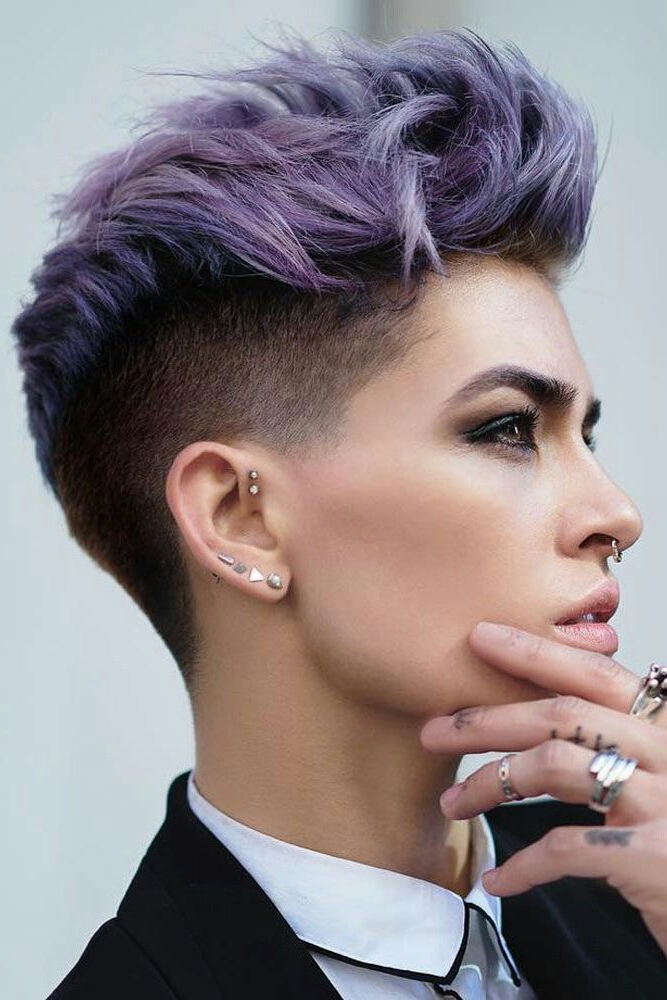 Purple Pixie Shaved Undercut Hair | Hair | Pinterest | Short Hair With Regard To Extravagant Purple Mohawk Hairstyles (View 23 of 25)