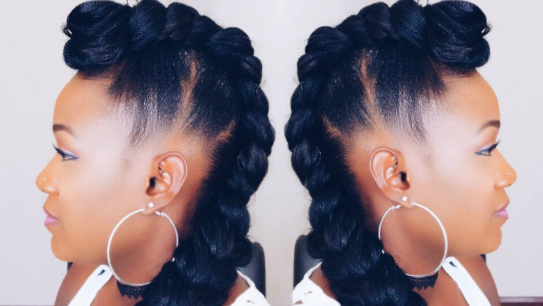 Quick Braided Mohawk Updo On Short Hair – Youtube | Hairstyles And Throughout Cool Mohawk Updo Hairstyles (Gallery 25 of 25)
