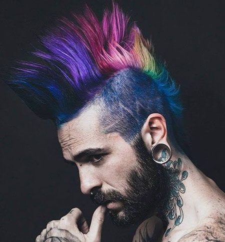 Rainbow Interesting Long Mohawk | Hair Color Ideas | Pinterest For Holograph Hawk Hairstyles (View 16 of 25)
