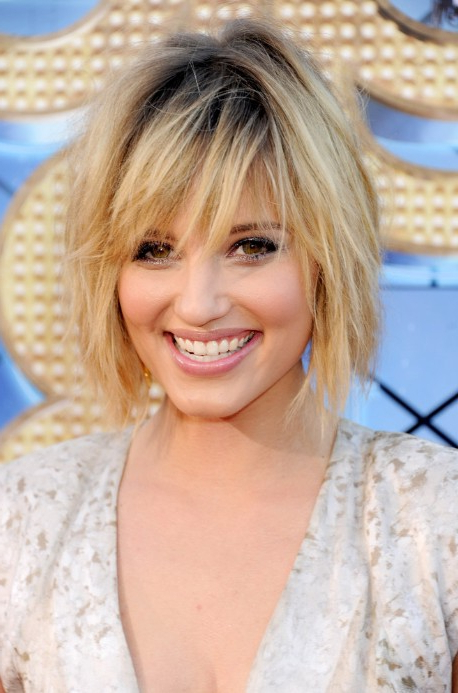 Sexy Tousled Layered Bob Hairstyle With Dark Roots – Dianna Agron With Regard To Newest Layered Tousled Bob Hairstyles (View 9 of 25)
