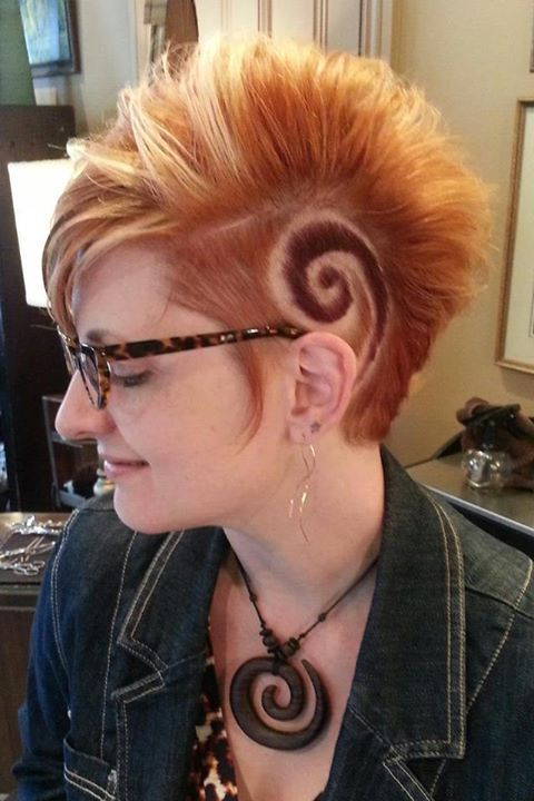 Shaved Hair Design, Spiral Cut, Freshly Shorn, Still In The Chair Intended For Platinum Mohawk Hairstyles With Geometric Designs (View 15 of 25)
