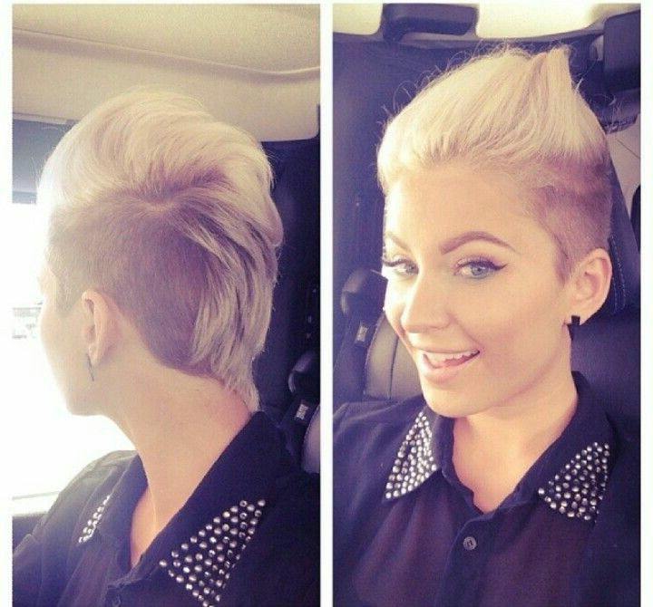 Short Blonde And Brown Female Mohawk | Hair | Pinterest | Short Hair Within Bleached Feminine Mohawk Hairstyles (View 20 of 25)