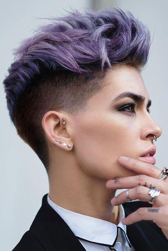 Short Hairstyle Colors 2017 & 2018 Style – Short And Cuts Hairstyles With Lavender Ombre Mohawk Hairstyles (View 10 of 25)