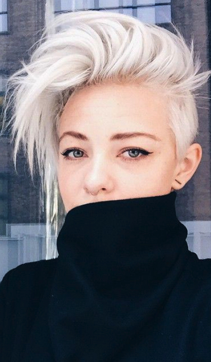 Short Long Hair Mohawk Women … | Cute Hair | Pinte… In Silvery White Mohawk Hairstyles (View 9 of 25)