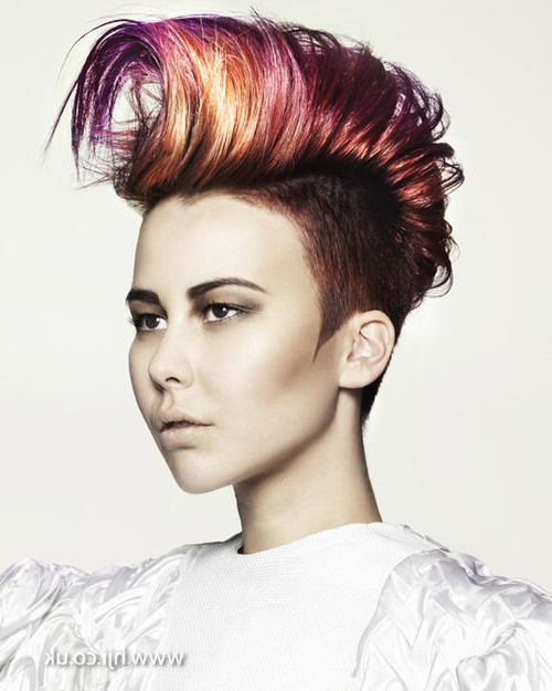 Short Mohawk Haircut Dimensional Vibrant Colors | Mohawks Within Mohawk Hairstyles With Vibrant Hues (View 14 of 25)