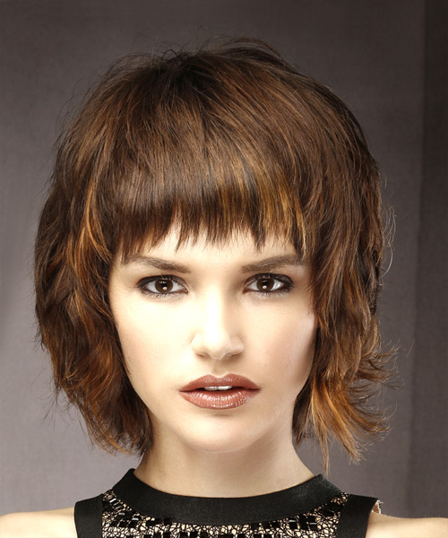 Short Straight Casual Shag Hairstyle With Layered Bangs – Brunette For Most Recently Brunette Messy Shag Hairstyles (View 21 of 25)