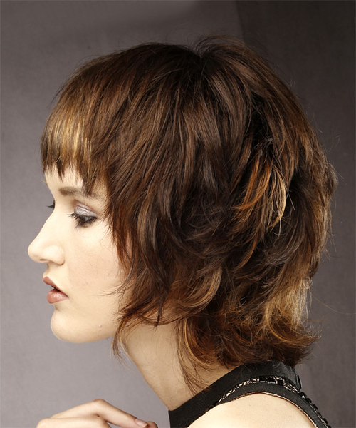 Short Straight Casual Shag Hairstyle With Layered Bangs – Brunette For Most Up To Date Brunette Messy Shag Hairstyles (View 3 of 25)
