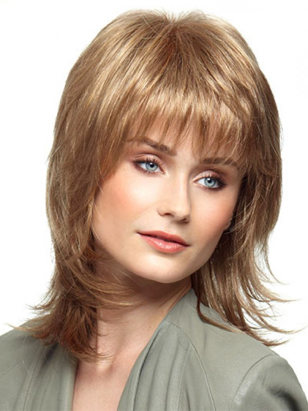 Short Wigs, Shoulder Length Style With Flipped Razor Cut Layers And Pertaining To 2018 Layered And Flipped Hairstyles For Medium Length Hair (View 13 of 25)
