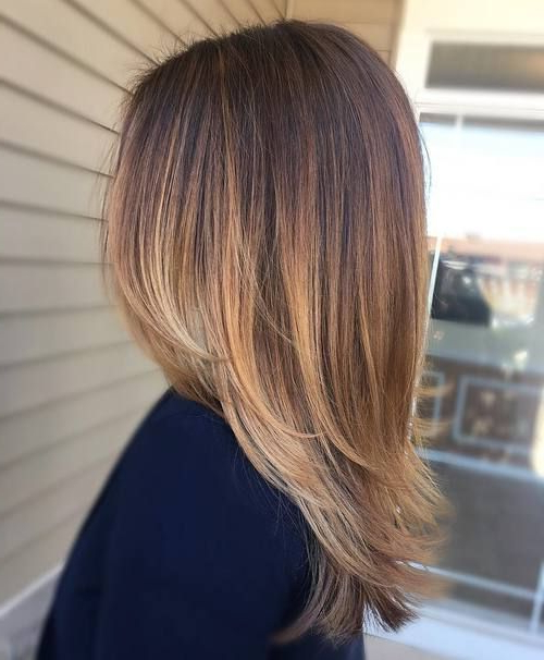 Straight Medium Length Layered Dark Hair With Pale Blonde Balayage With Regard To Most Recently Straight, Sleek, And Layered Hairstyles For Medium Hair (View 11 of 25)