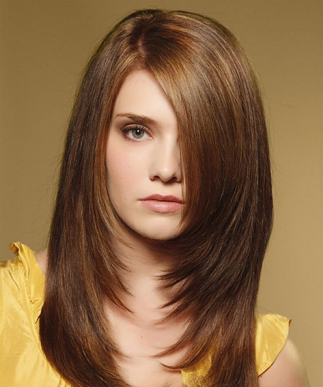 Stunning Haircuts For Long Thick Hair Smooth Silky Thick Hair For Most Recent Straight, Sleek, And Layered Hairstyles For Medium Hair (View 6 of 25)